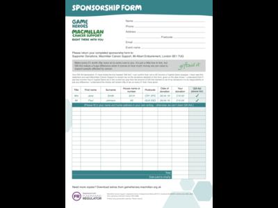 Thumbnail of a Macmillan Sponsorship form